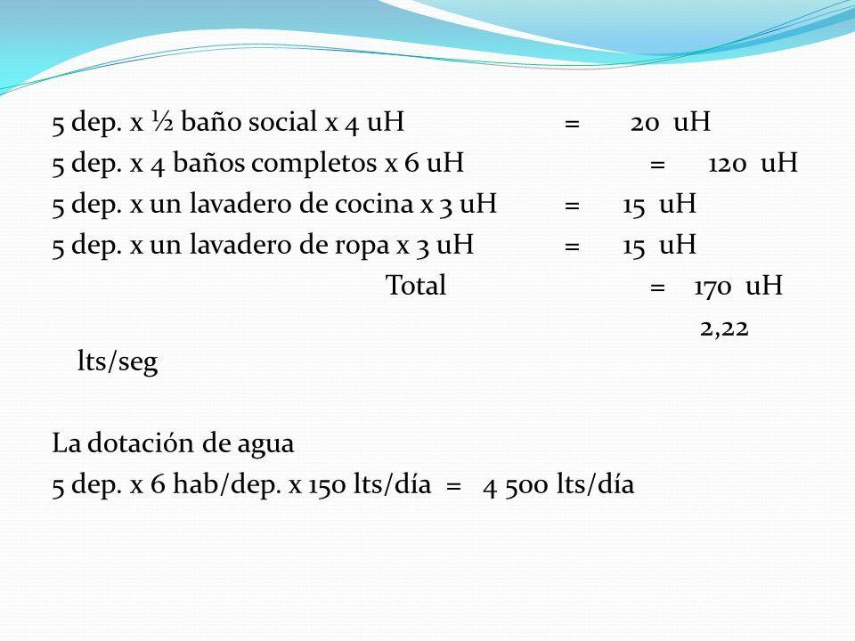 5 dep. x ½ baño social x 4 uH = 20 uH 5 dep. x 4 baños completos x 6 uH = 120 uH 5 dep.