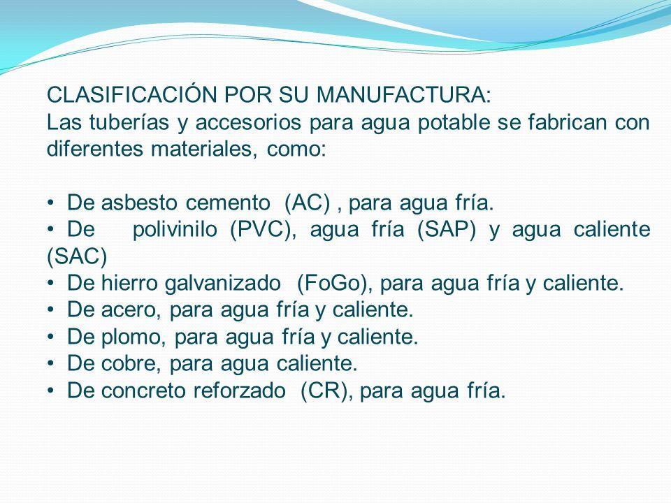 CLASIFICACIÓN POR SU MANUFACTURA: Las tuberías y accesorios para agua potable se fabrican con diferentes materiales, como: De asbesto cemento (AC), para agua fría.
