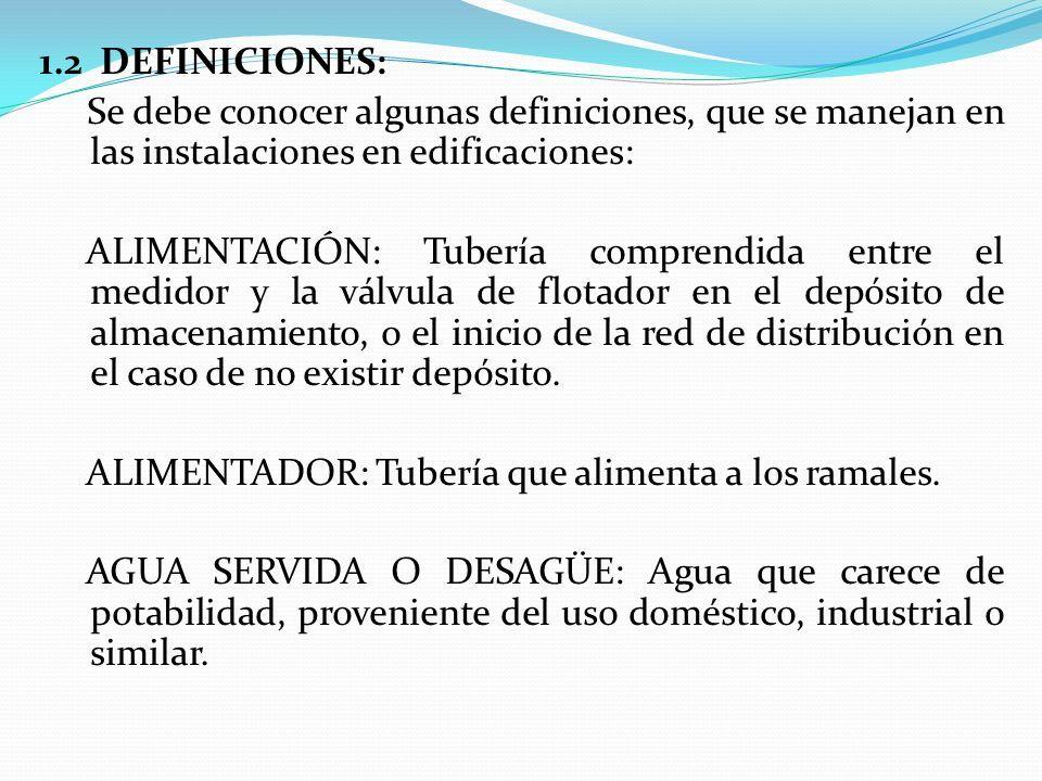 1.2 DEFINICIONES: Se debe conocer algunas definiciones, que se manejan en las instalaciones en edificaciones: ALIMENTACIÓN: Tubería comprendida entre el medidor y la válvula de flotador en el depósito de almacenamiento, o el inicio de la red de distribución en el caso de no existir depósito.