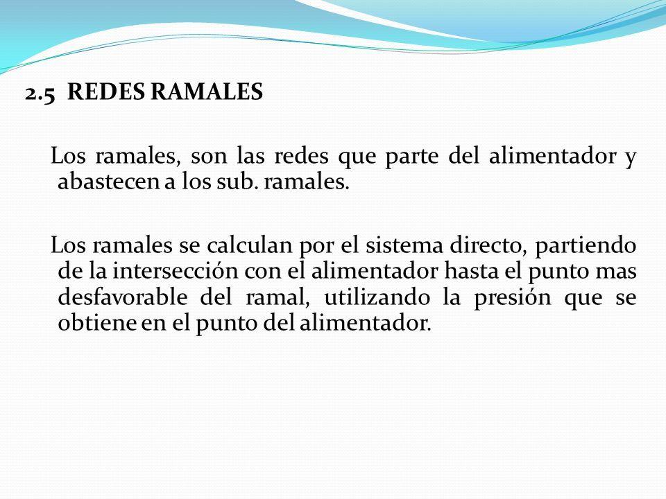 2.5 REDES RAMALES Los ramales, son las redes que parte del alimentador y abastecen a los sub.