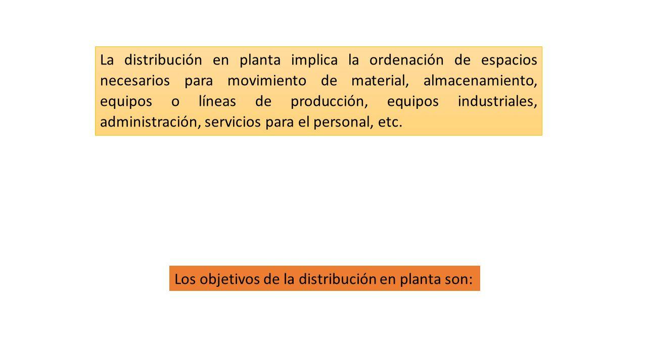 La distribución en planta implica la ordenación de espacios necesarios para movimiento de material, almacenamiento, equipos o líneas de producción, equipos industriales, administración, servicios para el personal, etc.