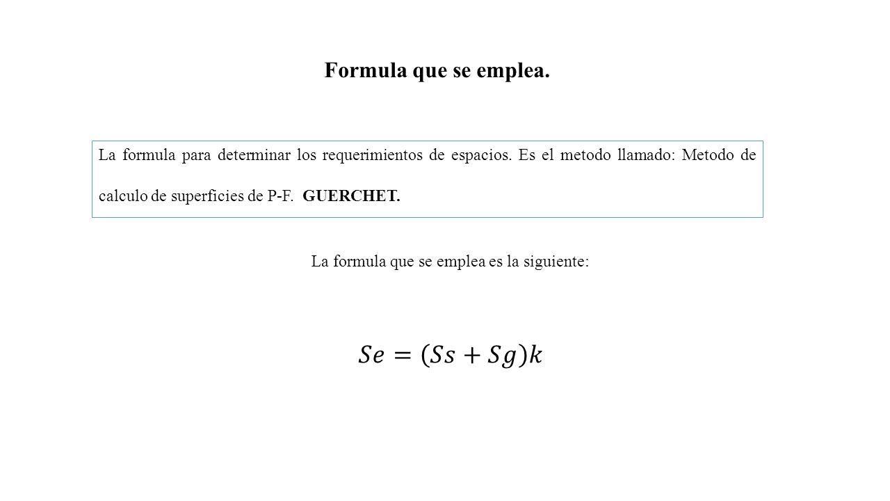 Formula que se emplea. La formula para determinar los requerimientos de espacios.