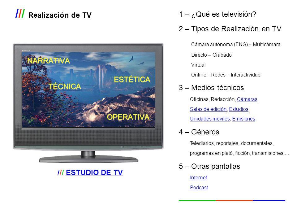 /// Realización de TV 1 – ¿Qué es televisión? 2 – Tipos de Realización en TV Cámara autónoma (ENG) – Multicámara Directo – Grabado Virtual Online – Re