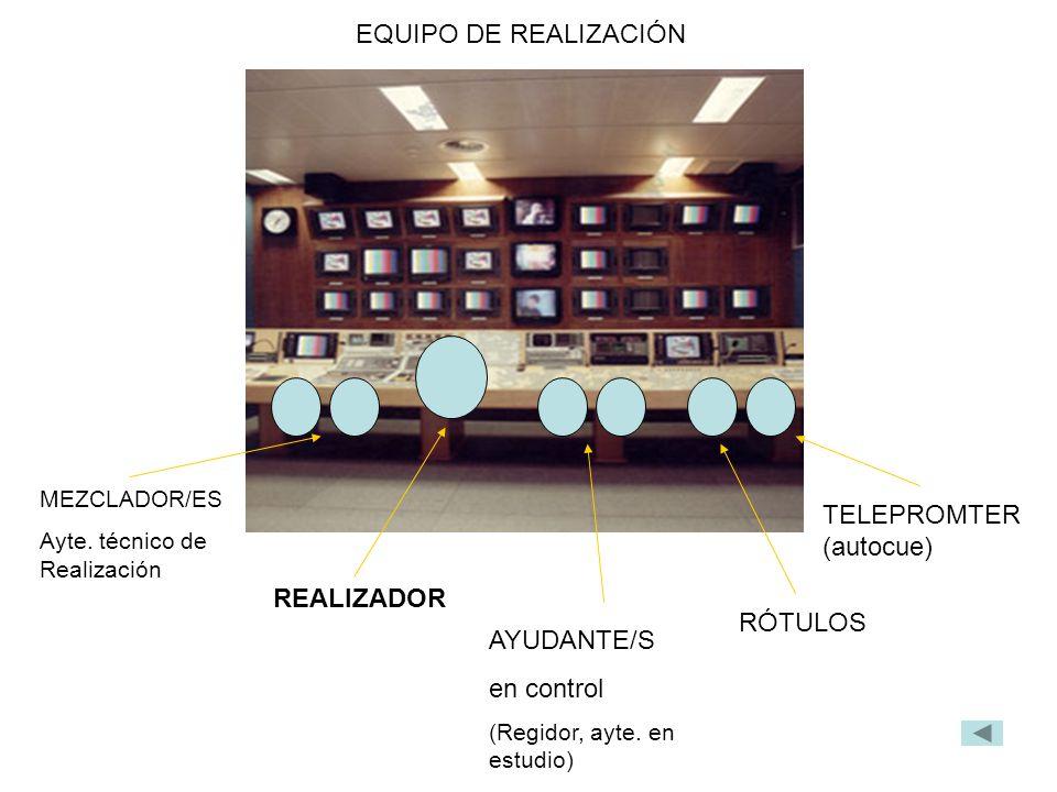 MEZCLADOR/ES Ayte. técnico de Realización REALIZADOR AYUDANTE/S en control (Regidor, ayte. en estudio) RÓTULOS TELEPROMTER (autocue) EQUIPO DE REALIZA