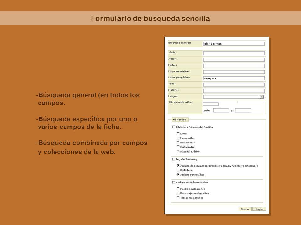 Formulario de búsqueda sencilla -Búsqueda general (en todos los campos. -Búsqueda específica por uno o varios campos de la ficha. -Búsqueda combinada