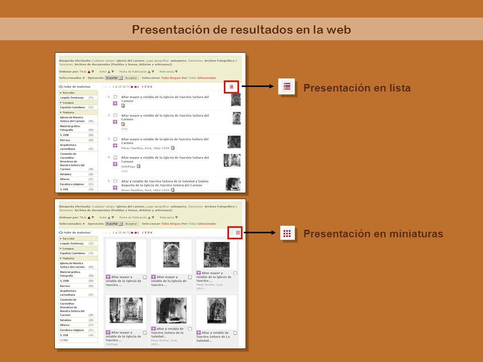 Nube de materias y facetas para depurar la búsqueda Ordenar resultados por: título, autor, fecha o relevancia Selección de registros desde la lista de resultados para exportar o descargar Acciones sobre los resultados