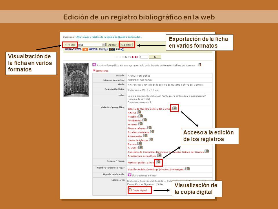 Edición de un registro bibliográfico en la web Visualización de la ficha en varios formatos Exportación de la ficha en varios formatos Acceso a la edi