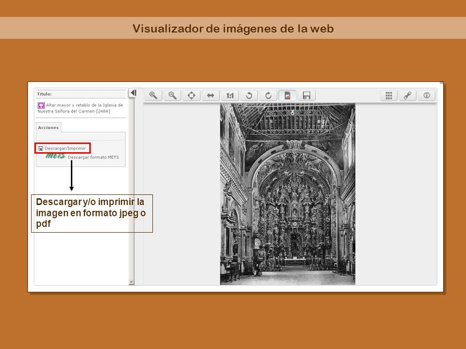 Descargar y/o imprimir la imagen en formato jpeg o pdf Visualizador de imágenes de la web