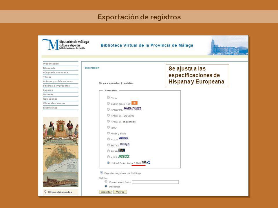 Se ajusta a las especificaciones de Hispana y Europeana Exportación de registros
