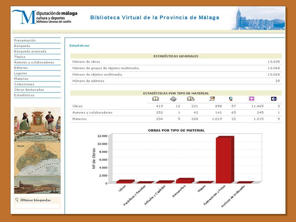 Patrimonio Bibliográfico Malagueño en la Biblioteca Canovas del Castillo Fondo Antiguo con 5.885 obras, de las que 152 son manuscritos en su mayoría modernos de interés local, 1.406 obras de los siglos XVI al XIX y 4.337 del siglo XX (editadas hasta 1957) de las que más de un 60% son de carácter local.