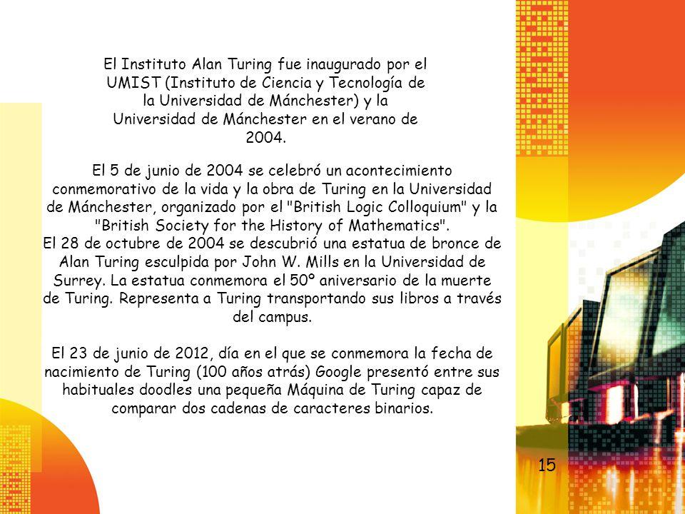 El 5 de junio de 2004 se celebró un acontecimiento conmemorativo de la vida y la obra de Turing en la Universidad de Mánchester, organizado por el