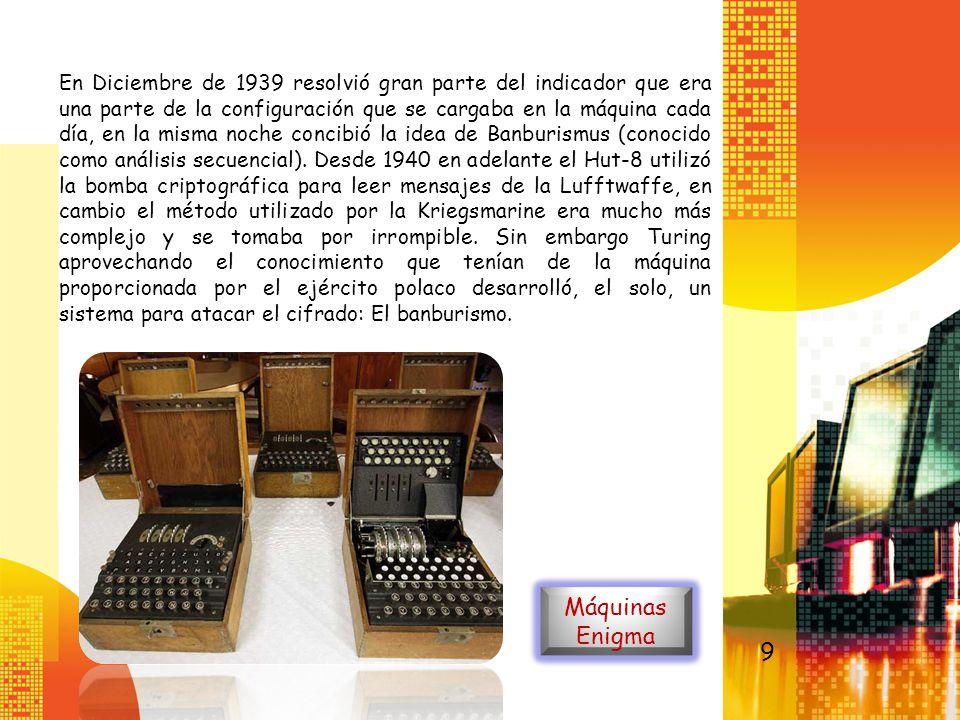 En Diciembre de 1939 resolvió gran parte del indicador que era una parte de la configuración que se cargaba en la máquina cada día, en la misma noche