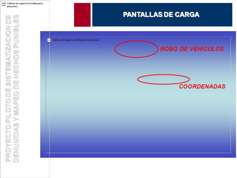 ROBO DE VEHICULOS COORDENADAS PROYECTO PILOTO DE SISTEMATIZACION DE DENUNCIAS Y MAPEO DE HECHOS PUNIBLES PANTALLAS DE CARGA
