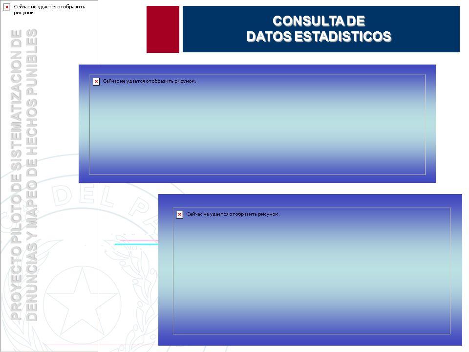 PROYECTO PILOTO DE SISTEMATIZACION DE DENUNCIAS Y MAPEO DE HECHOS PUNIBLES CONSULTA DE DATOS ESTADISTICOS