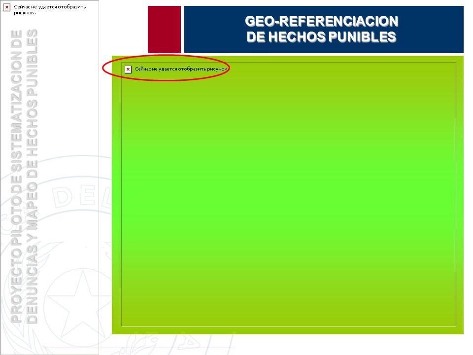 PROYECTO PILOTO DE SISTEMATIZACION DE DENUNCIAS Y MAPEO DE HECHOS PUNIBLES GEO-REFERENCIACION DE HECHOS PUNIBLES
