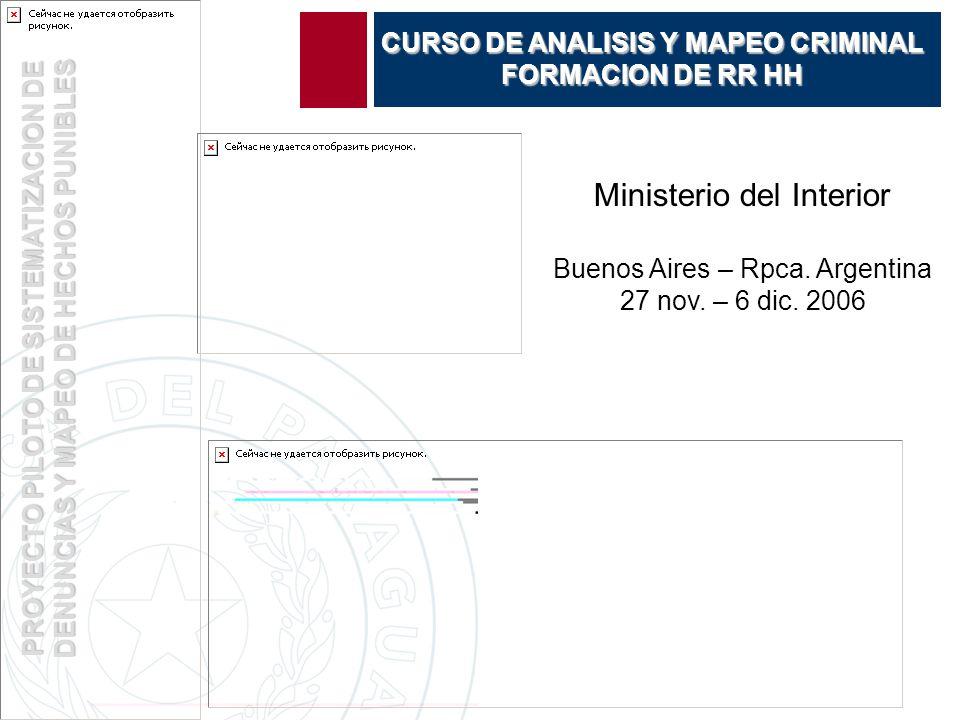 PROYECTO PILOTO DE SISTEMATIZACION DE DENUNCIAS Y MAPEO DE HECHOS PUNIBLES CURSO DE ANALISIS Y MAPEO CRIMINAL FORMACION DE RR HH Ministerio del Interior Buenos Aires – Rpca.