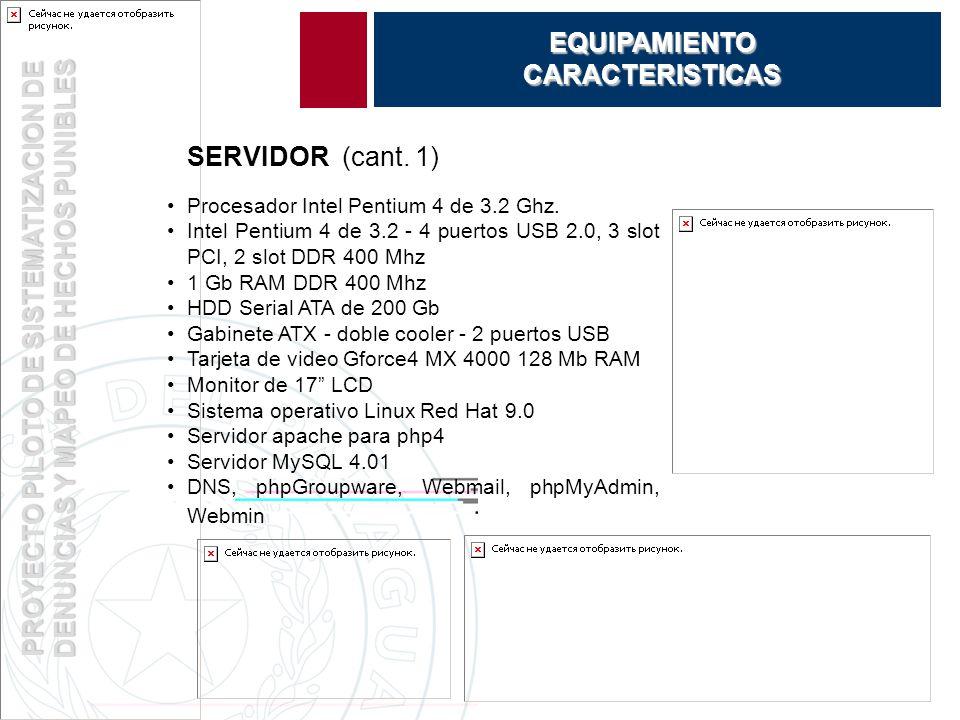 PROYECTO PILOTO DE SISTEMATIZACION DE DENUNCIAS Y MAPEO DE HECHOS PUNIBLES EQUIPAMIENTOCARACTERISTICAS SERVIDOR (cant.
