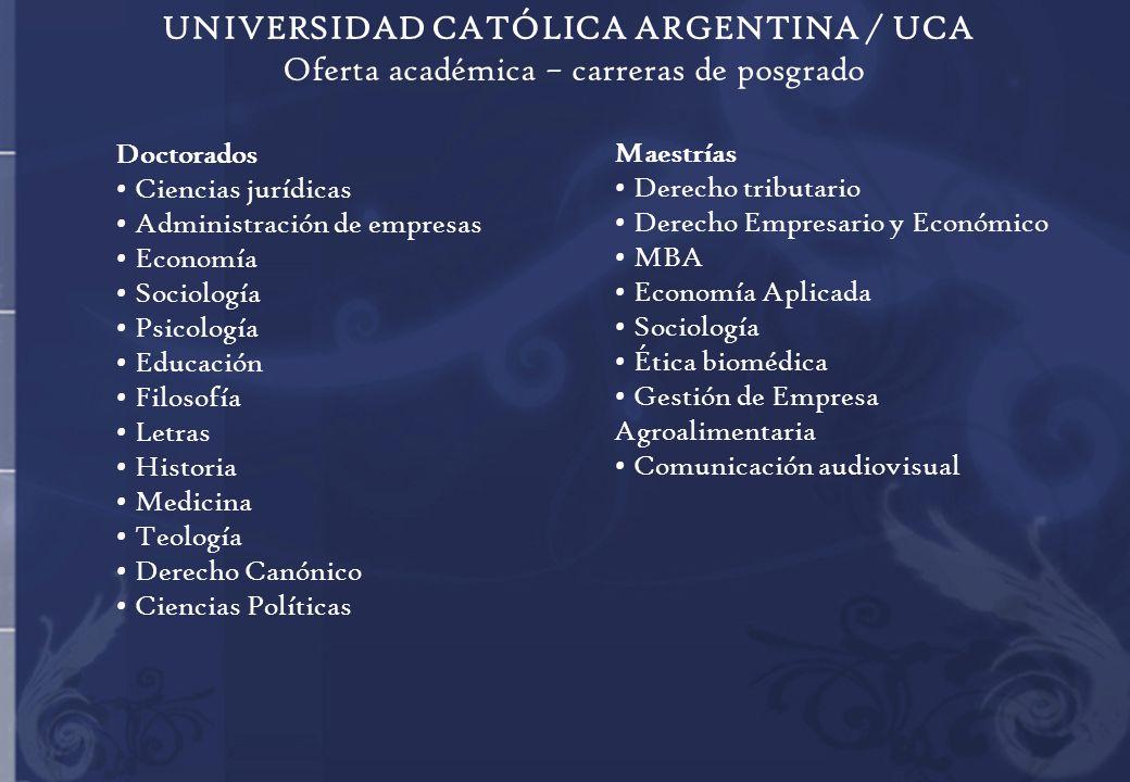 UNIVERSIDAD CATÓLICA ARGENTINA / UCA Oferta académica – carreras de posgrado Doctorados Ciencias jurídicas Administración de empresas Economía Sociolo