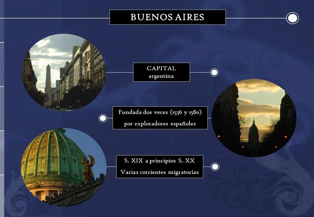 CAPITAL argentina Fundada dos veces (1536 y 1580) por exploradores españoles S. XIX a principios S. XX Varias corrientes migratorias BUENOS AIRES