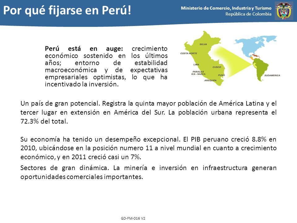 Ministerio de Comercio, Industria y Turismo República de Colombia GD-FM-016 V2 Perú está en auge: crecimiento económico sostenido en los últimos años;