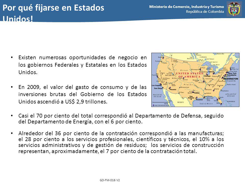 Ministerio de Comercio, Industria y Turismo República de Colombia GD-FM-016 V2 Existen numerosas oportunidades de negocio en los gobiernos Federales y