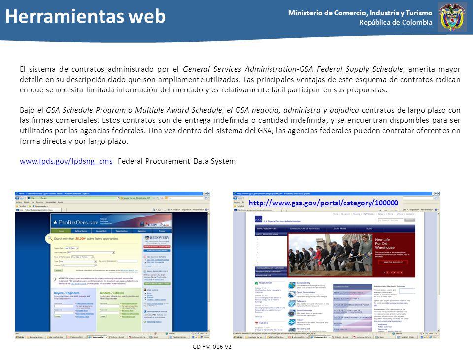 Ministerio de Comercio, Industria y Turismo República de Colombia GD-FM-016 V2 El sistema de contratos administrado por el General Services Administra
