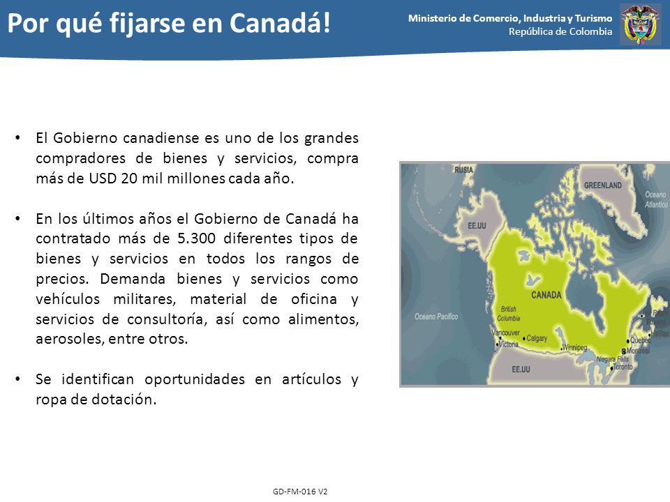 Ministerio de Comercio, Industria y Turismo República de Colombia GD-FM-016 V2 El Gobierno canadiense es uno de los grandes compradores de bienes y se