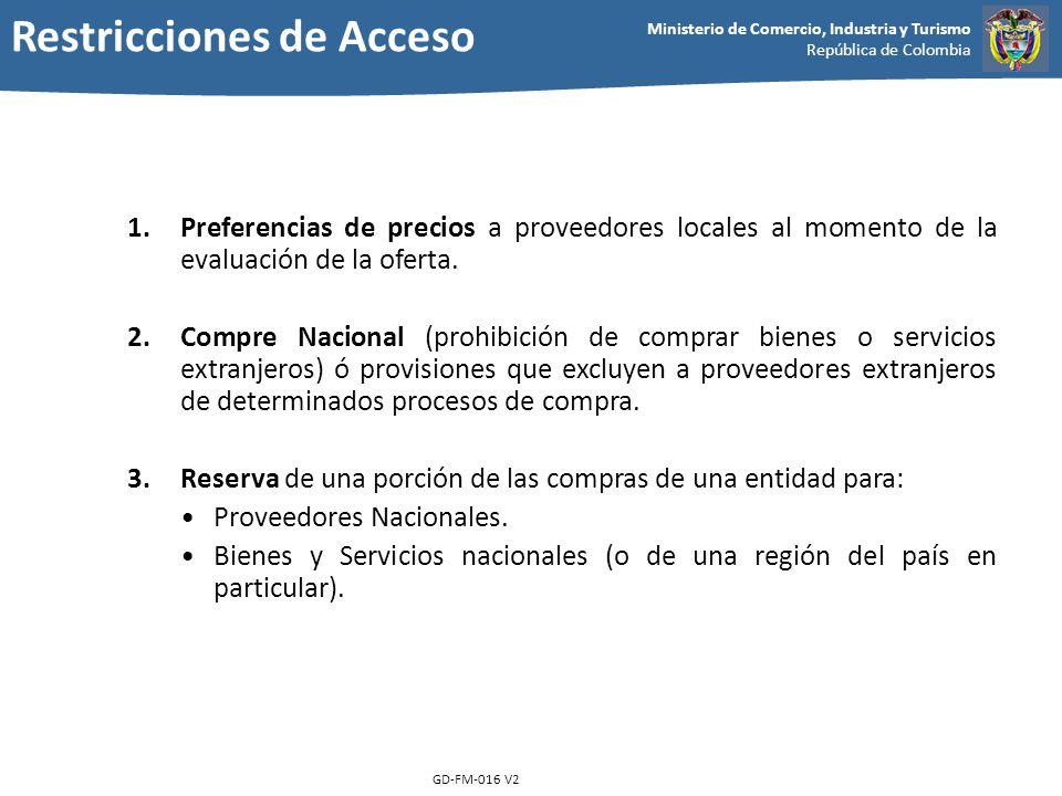 Ministerio de Comercio, Industria y Turismo República de Colombia GD-FM-016 V2 1.Preferencias de precios a proveedores locales al momento de la evalua