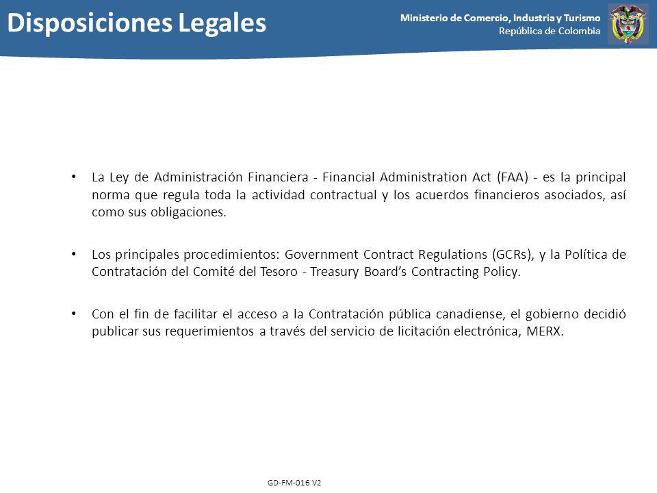 Ministerio de Comercio, Industria y Turismo República de Colombia GD-FM-016 V2 La Ley de Administración Financiera - Financial Administration Act (FAA