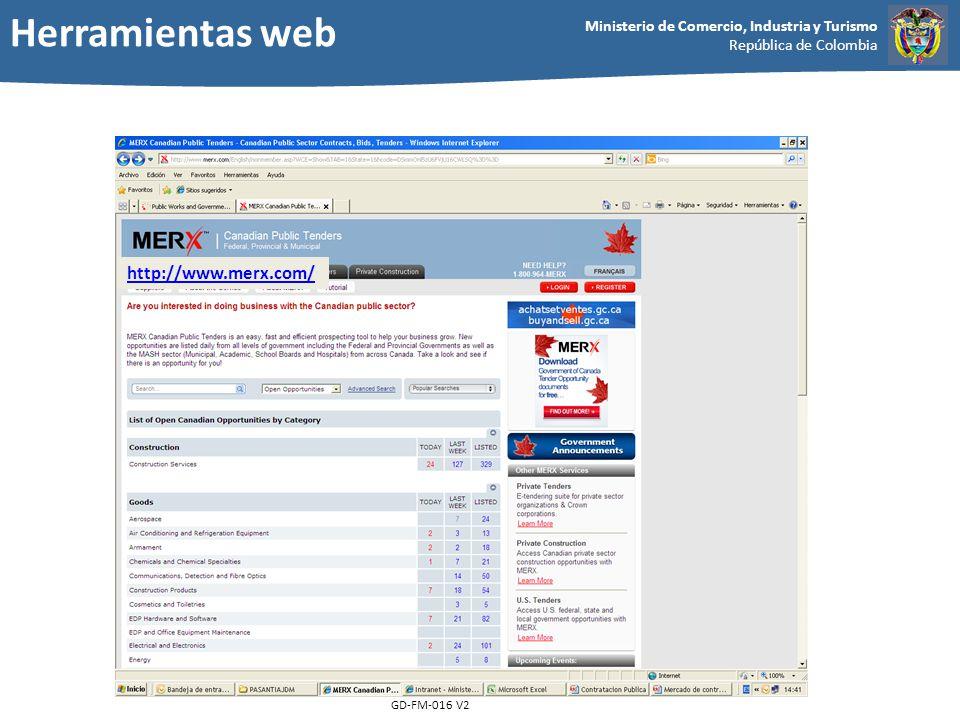Ministerio de Comercio, Industria y Turismo República de Colombia GD-FM-016 V2 http://www.merx.com/ Herramientas web