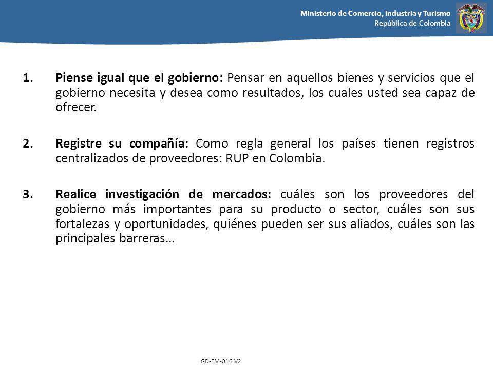 Ministerio de Comercio, Industria y Turismo República de Colombia GD-FM-016 V2 1.Piense igual que el gobierno: Pensar en aquellos bienes y servicios q