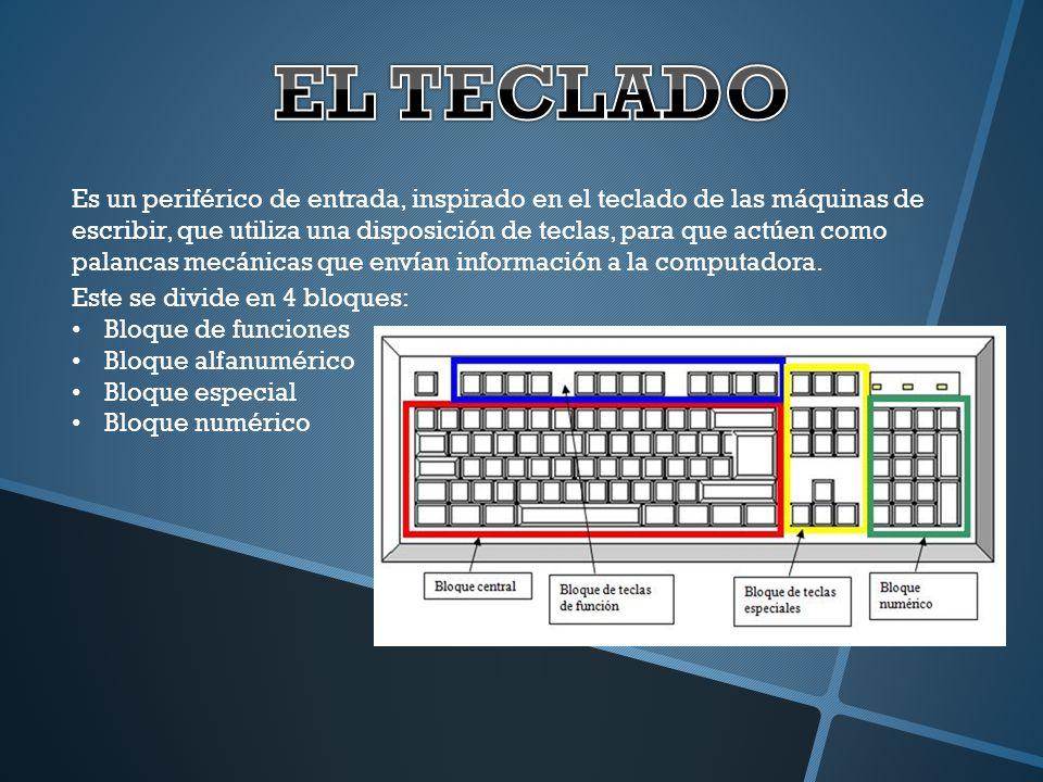 Es un periférico de entrada, inspirado en el teclado de las máquinas de escribir, que utiliza una disposición de teclas, para que actúen como palancas
