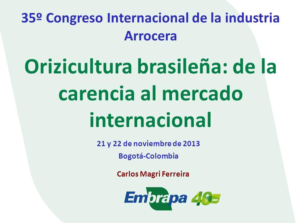 Orizicultura brasileña: de la carencia al mercado internacional 35º Congreso Internacional de la industria Arrocera 21 y 22 de noviembre de 2013 Bogotá-Colombia Carlos Magri Ferreira