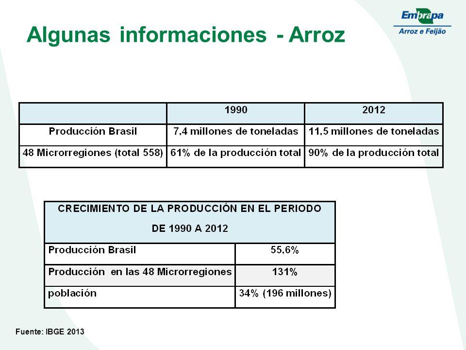 Algunas informaciones - Arroz Fuente: IBGE 2013