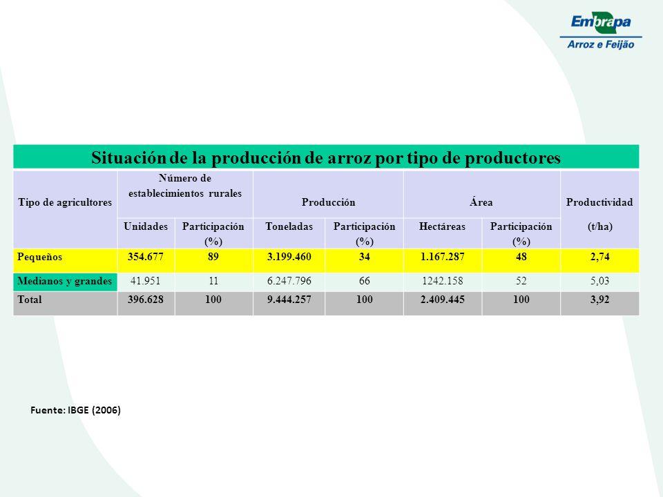 Secano Situación de la producción de arroz por tipo de productores Tipo de agricultores Número de establecimientos rurales ProducciónÁrea Productividad (t/ha) Unidades Participación (%) Toneladas Participación (%) Hectáreas Participación (%) Pequeños354.677893.199.460341.167.287482,74 Medianos y grandes41.951116.247.796661242.158525,03 Total396.6281009.444.2571002.409.4451003,92 Fuente: IBGE (2006)