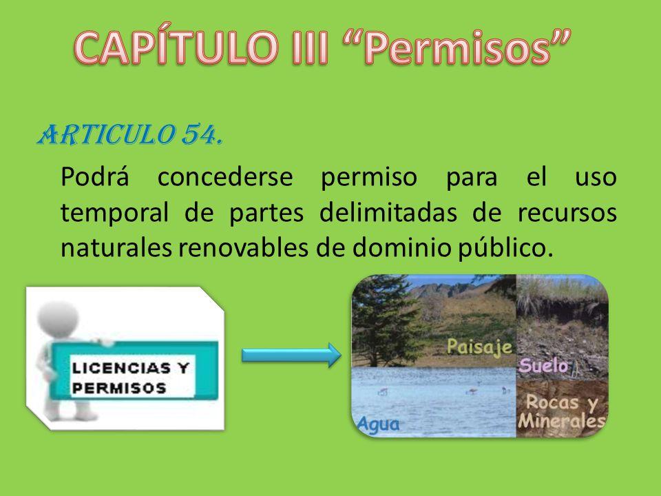 ARTICULO 54. Podrá concederse permiso para el uso temporal de partes delimitadas de recursos naturales renovables de dominio público.