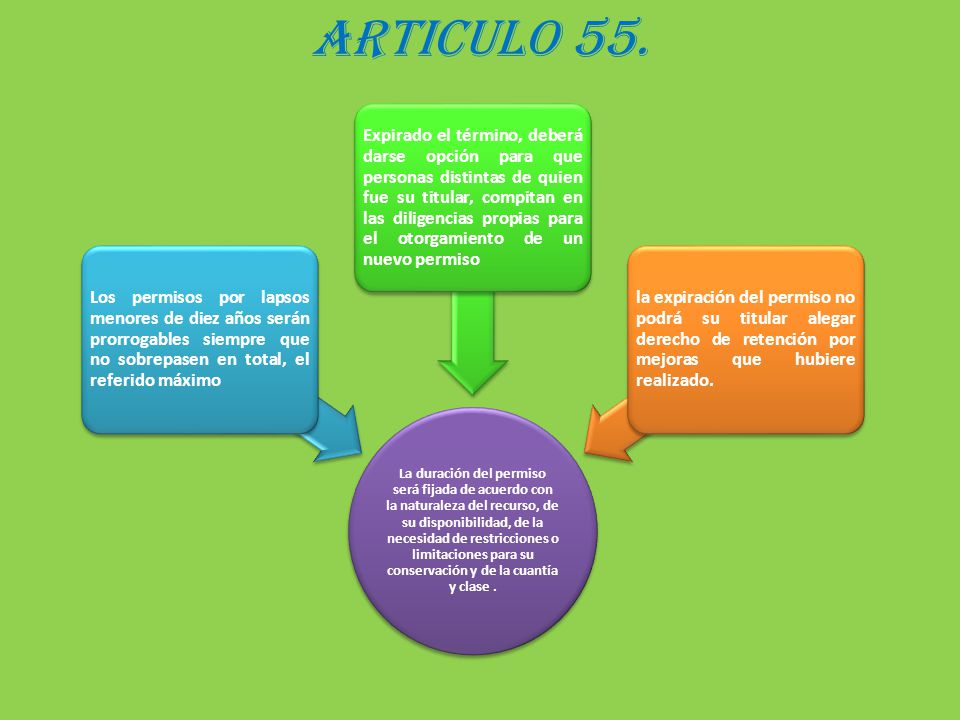 ARTICULO 55. La duración del permiso será fijada de acuerdo con la naturaleza del recurso, de su disponibilidad, de la necesidad de restricciones o li