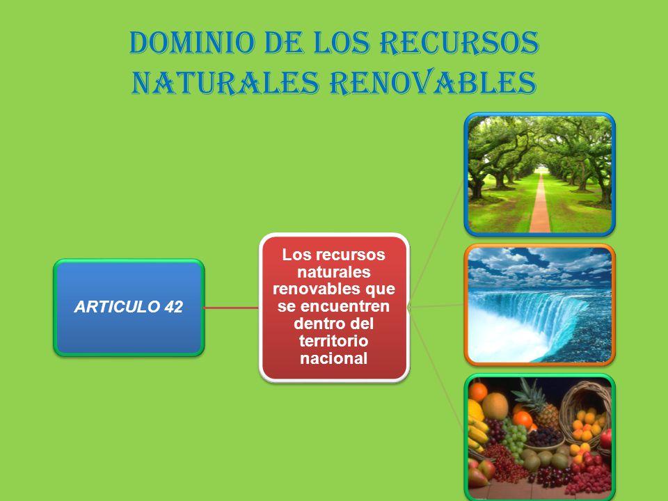dominio de los recursos naturales renovables ARTICULO 42 Los recursos naturales renovables que se encuentren dentro del territorio nacional