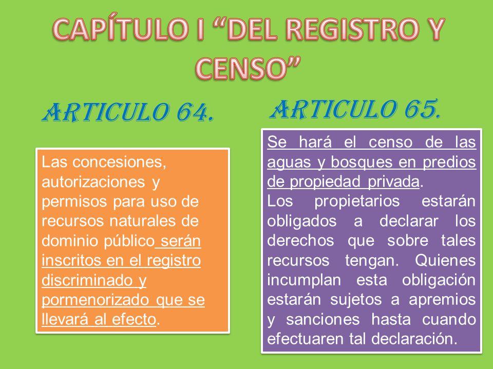 ARTICULO 64. Las concesiones, autorizaciones y permisos para uso de recursos naturales de dominio público serán inscritos en el registro discriminado
