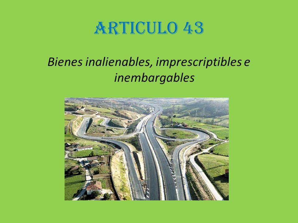 ARTICULO 43 Bienes inalienables, imprescriptibles e inembargables