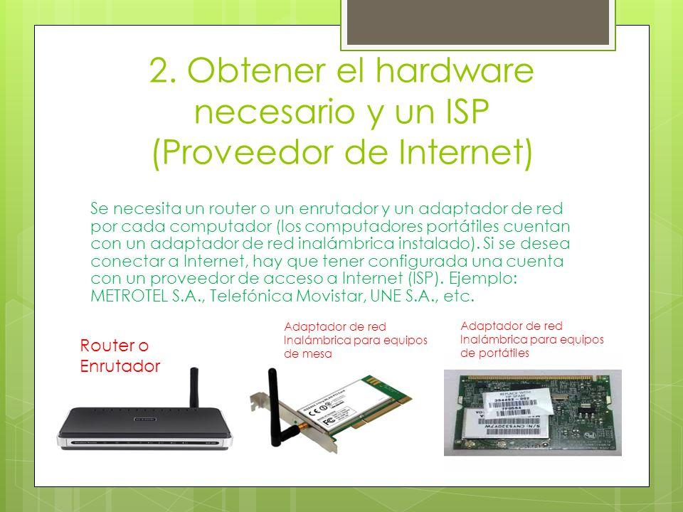 2. Obtener el hardware necesario y un ISP (Proveedor de Internet) Se necesita un router o un enrutador y un adaptador de red por cada computador (los