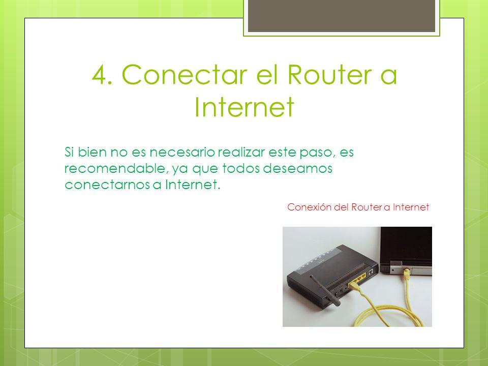 4. Conectar el Router a Internet Si bien no es necesario realizar este paso, es recomendable, ya que todos deseamos conectarnos a Internet. Conexión d
