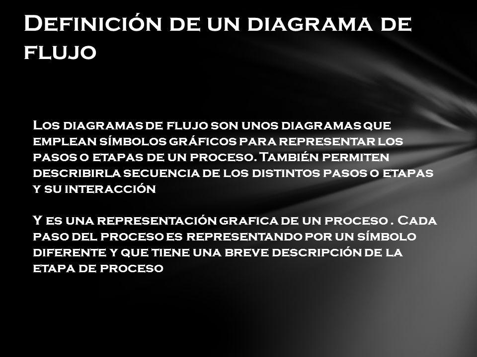 Definición de un diagrama de flujo Los diagramas de flujo son unos diagramas que emplean símbolos gráficos para representar los pasos o etapas de un proceso.