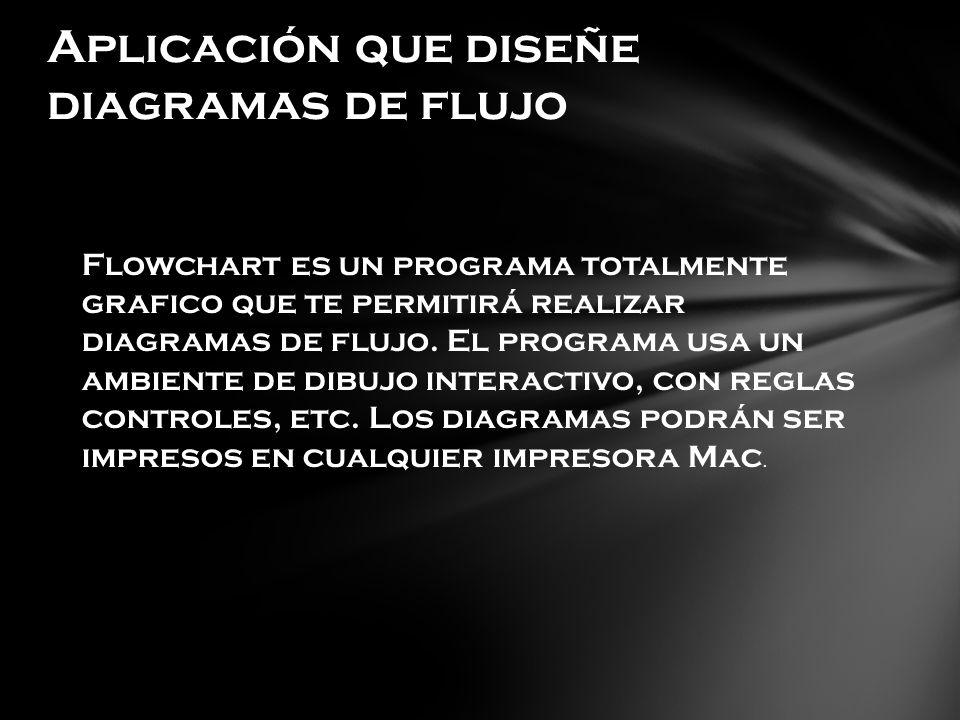 Aplicación que diseñe diagramas de flujo Flowchart es un programa totalmente grafico que te permitirá realizar diagramas de flujo. El programa usa un