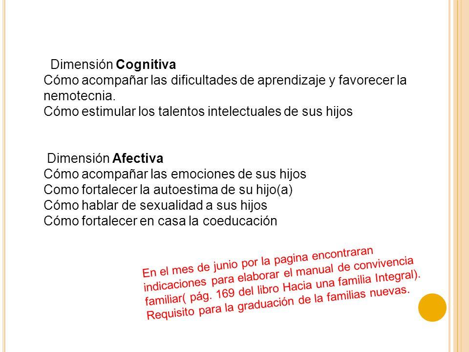 Dimensión Cognitiva Cómo acompañar las dificultades de aprendizaje y favorecer la nemotecnia. Cómo estimular los talentos intelectuales de sus hijos D
