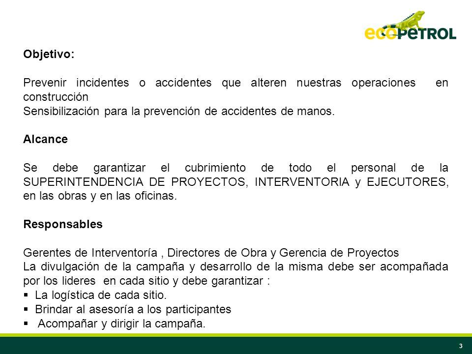 3 Objetivo: Prevenir incidentes o accidentes que alteren nuestras operaciones en construcción Sensibilización para la prevención de accidentes de mano