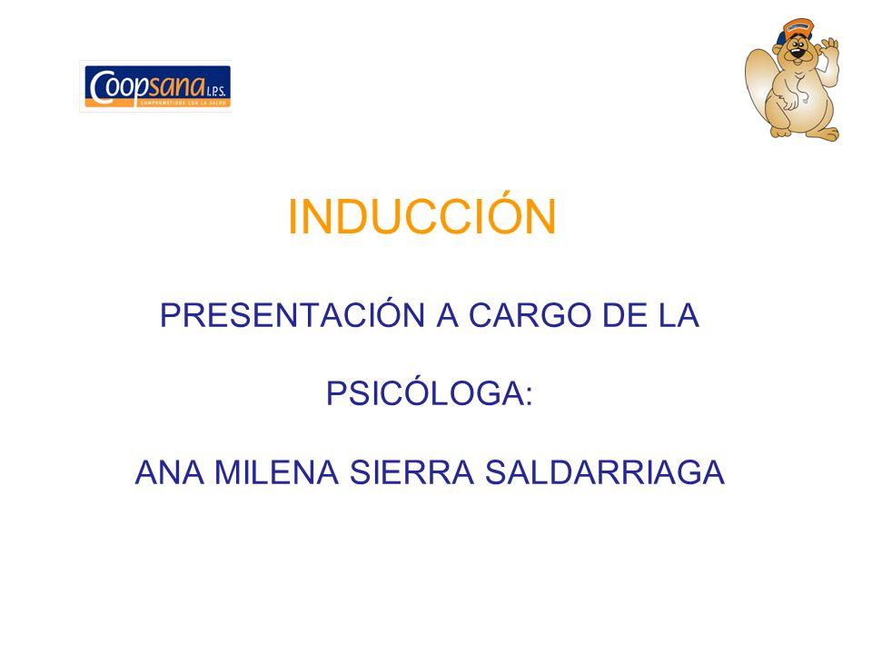 INDUCCIÓN PRESENTACIÓN A CARGO DE LA PSICÓLOGA: ANA MILENA SIERRA SALDARRIAGA