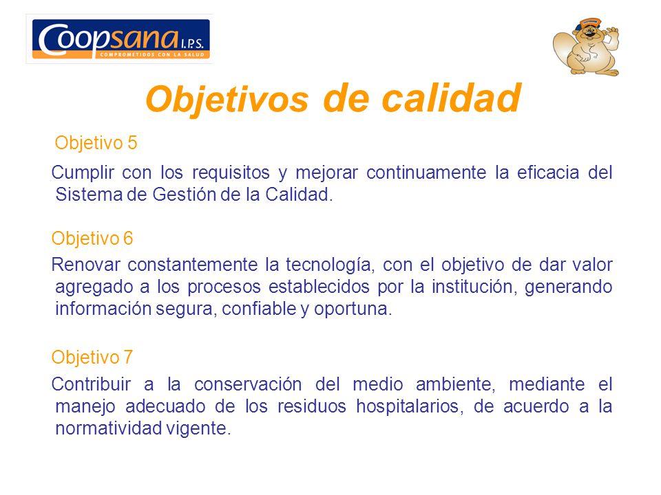 Objetivos de calidad Objetivo 5 Cumplir con los requisitos y mejorar continuamente la eficacia del Sistema de Gestión de la Calidad. Objetivo 6 Renova