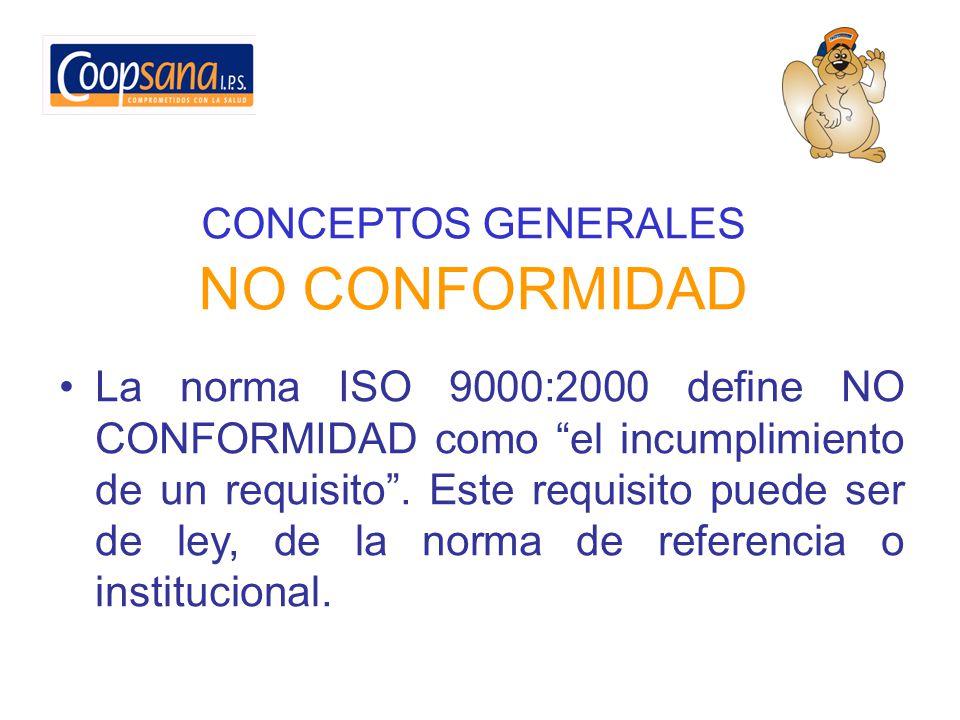 CONCEPTOS GENERALES NO CONFORMIDAD La norma ISO 9000:2000 define NO CONFORMIDAD como el incumplimiento de un requisito. Este requisito puede ser de le