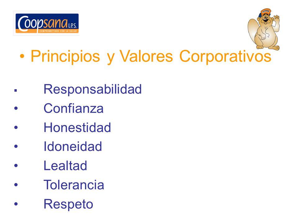 Principios y Valores Corporativos Responsabilidad Confianza Honestidad Idoneidad Lealtad Tolerancia Respeto
